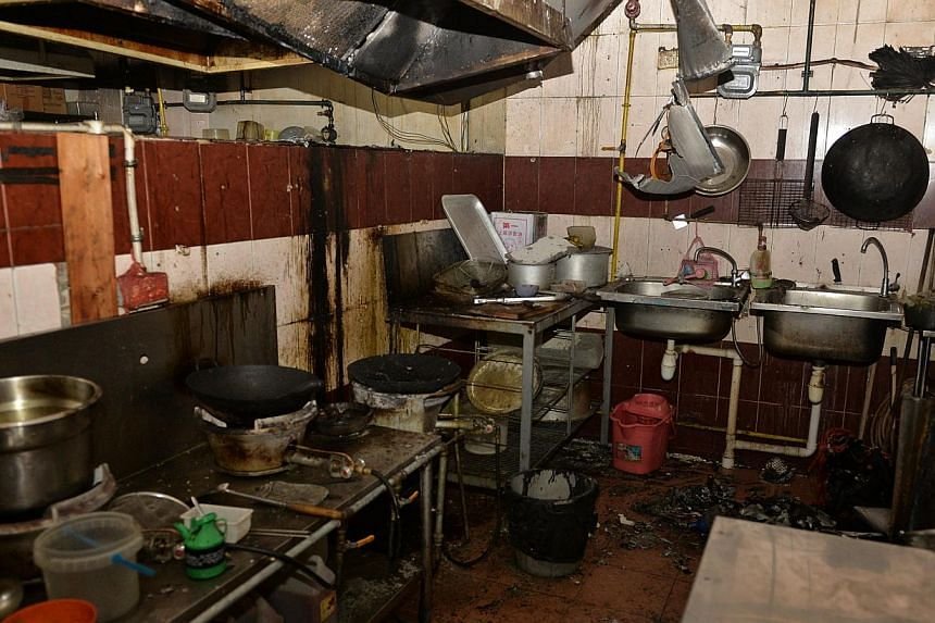 The stall in Good Good's Eating House, where the fire was believed to have started. -- ST PHOTO: CAROLINE CHIA