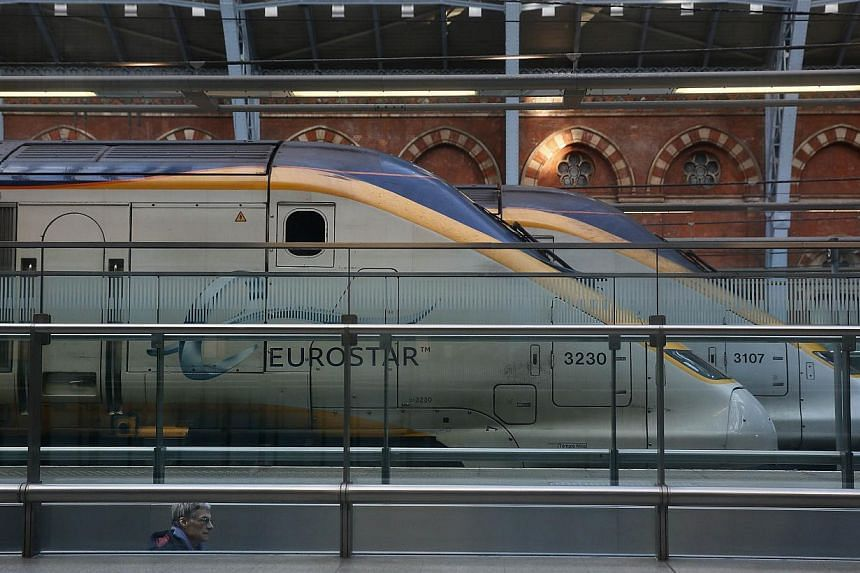 Eurostar trains stand at St Pancras International Station in London on Saturday. -- PHOTO: REUTERS