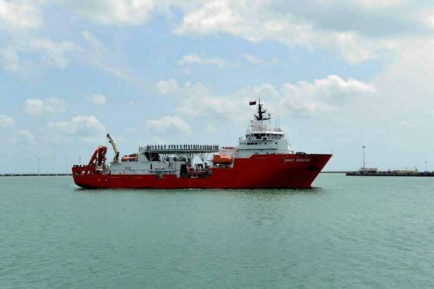 The MV Swift Rescue returning to Changi Naval Base after 20 days at sea. -- PHOTO: NG ENG HEN/FACEBOOK
