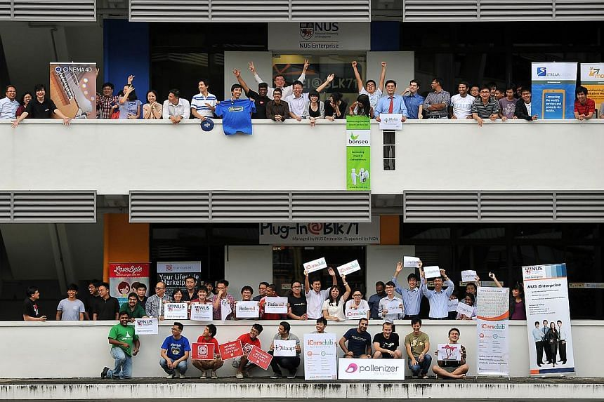 Staff of some of the companies at Block 71, a hub for start-ups at Ayer Rajah Industrial Estate. A new office in San Francisco, sharing the same name as its Singapore counterpart, will be set up by Infocomm Investments to offer working space to start