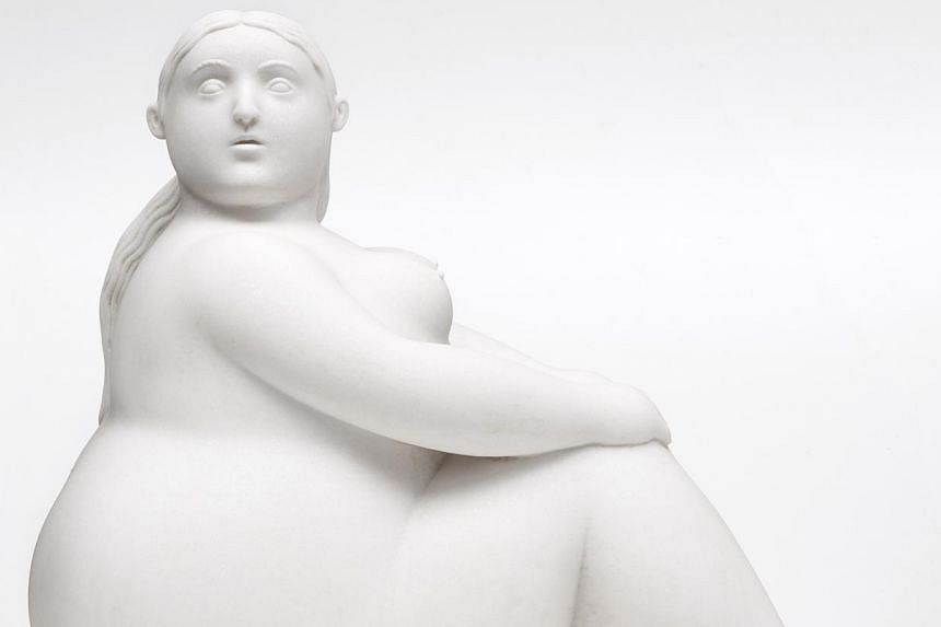 Botero's marble sculpture Sitting Woman will be on display at the Art Stage 2015.-- PHOTO:INTERNATIONAL ART PTE LTD
