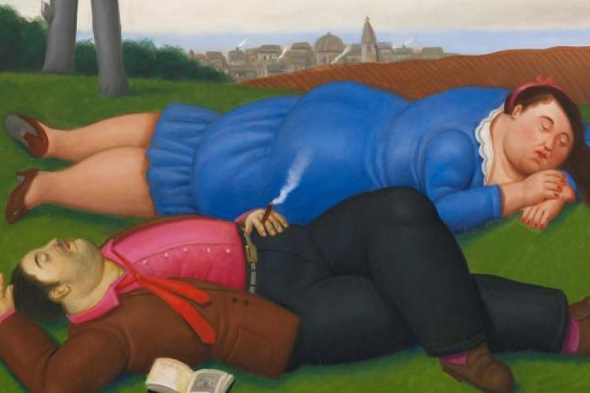 Botero's oil on canvas painting Couple On The Grass will be on display at the Art Stage 2015. -- PHOTO: INTERNATIONAL ART PTE LTD