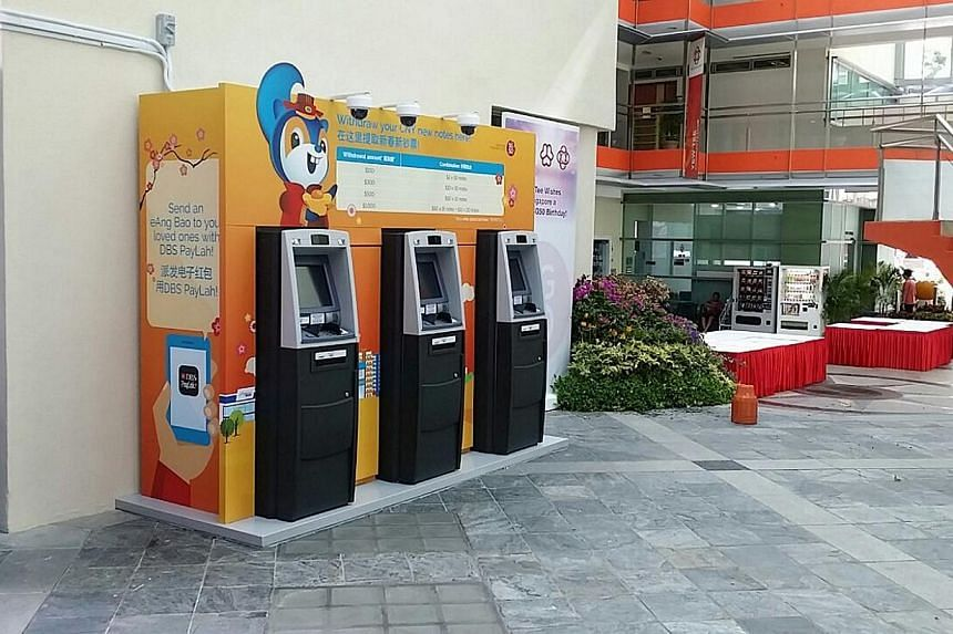 Temporary cash withdrawal machines installed by DBS may just be around for a short while but it does not mean their security measures are any less stringent. -- PHOTO: DBS