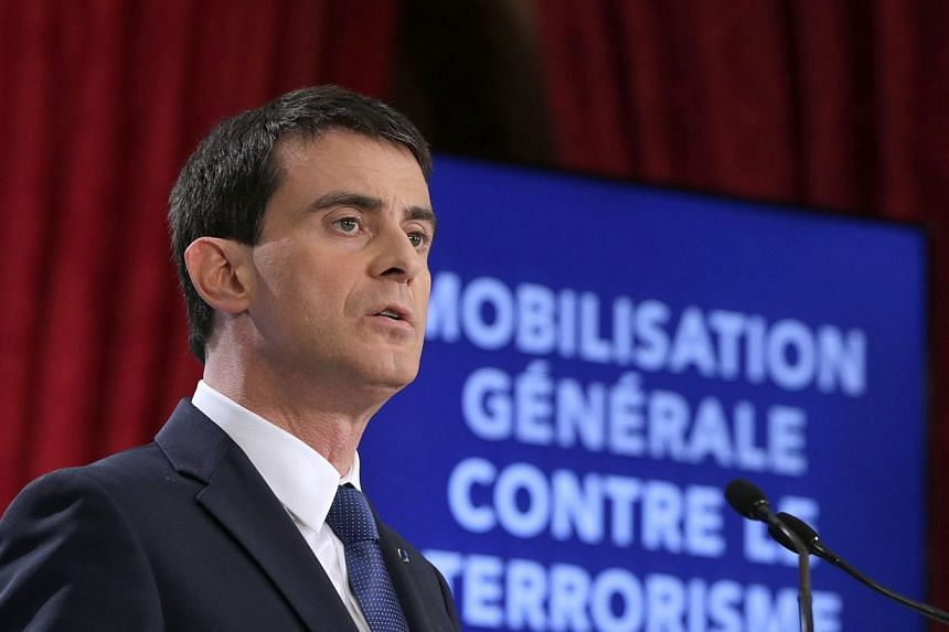 French Prime Minister Manuel Valls speaks during a press conference to unveil new security measures ahead of a defence council at the Elysee Palace in Paris on Jan 21, 2015. France will hire thousands more intelligence and counter-terrorism staf