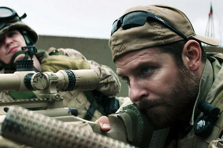 Sniper Chris Kyle (Bradley Cooper, above) is elevated into a man-myth in American Sniper because of his ability to kill with superhuman efficiency. -- PHOTO: GOLDEN VILLAGE