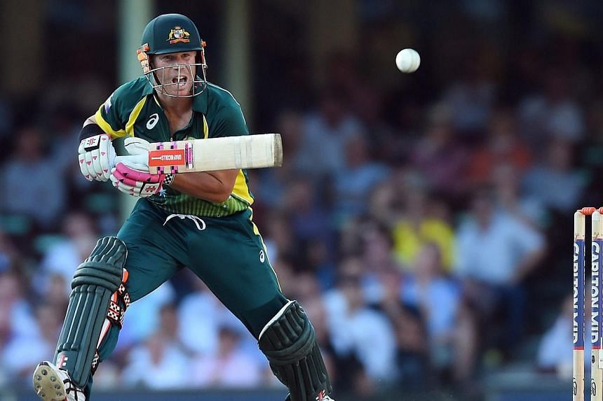 David Warner of Australia plays a shot during the Tri-Series One Day International against England at the Sydney Cricket Ground, in Sydney, Australia on Jan 16, 2015. -- PHOTO: EPA