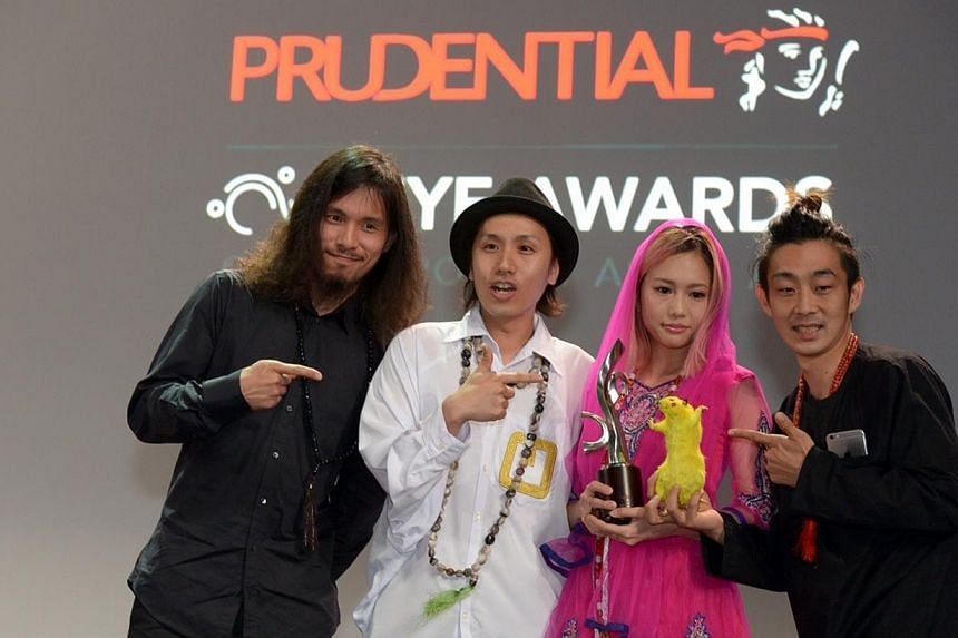Clockwise from above: Motomu Inaoka, Ryuta Ushiro, Ellie and Yasutaka Hayashi of the six-member Chim-Pom, named Overall Best Emerging Artist at the awards last night; Singapore's Donna Ong, who won in the Installation category; and Sherman Ong, who w