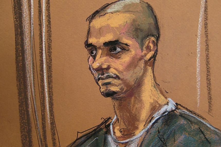 A courtroom sketch shows Wesam El-Hanafi at the New York federal court Jan 20, 2015. Hanafiwas sentenced to 15 years in jail Tuesday for funneling US$67,000 (S$89,000) to Al-Qaeda and helping to scout out the city's Stock Exchange for attack. -