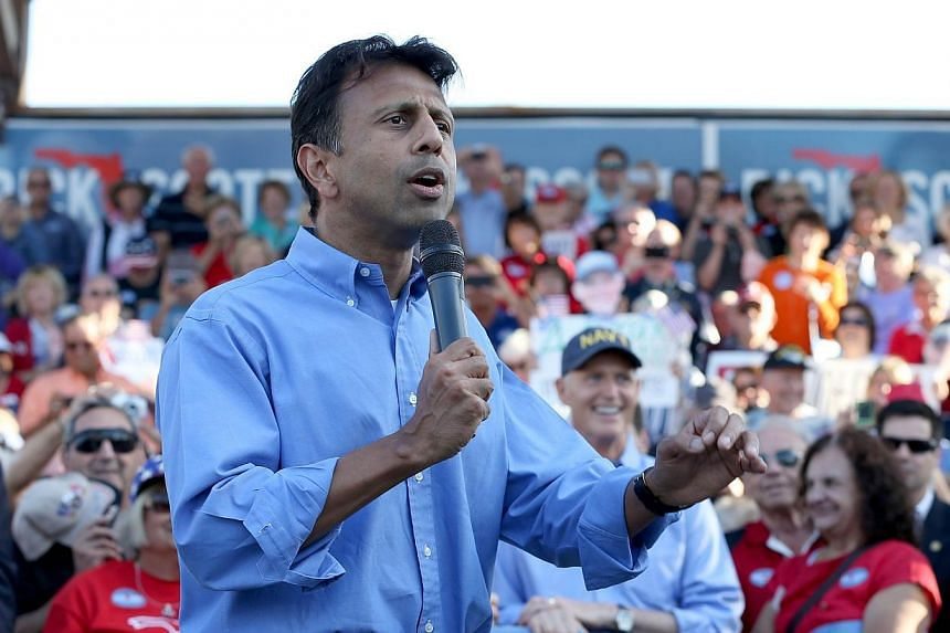 "Louisiana Governor Bobby Jindal speaking on a campaign trip last year. On his recent ""fact-finding"" visit to Britain, he surprised the British by saying the country had ""no-go zones"" where syariah law, not British law, was in place. -- PHOTO: AF"