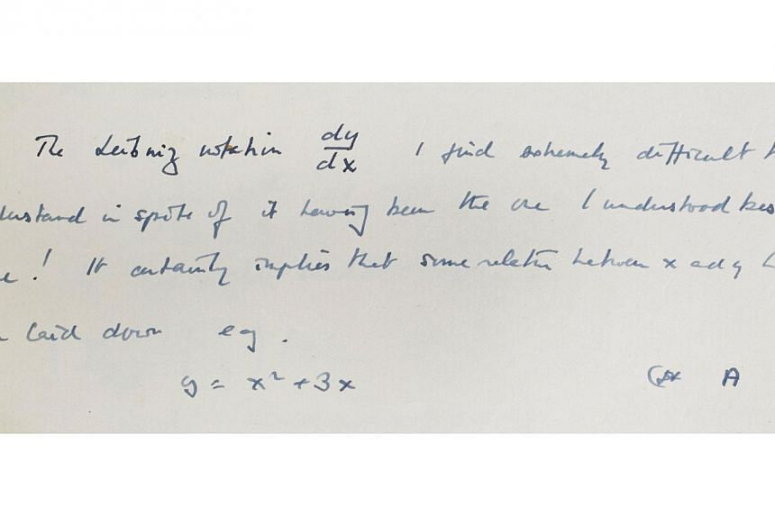 An undated handout image obtained Jan 20, 2015 courtesy of Bonhams Fine Books & Manuscripts in New York shows a key handwritten scientific document by Alan Turing. The hidden manuscript written by British mathematician and code breaker Alan Turin