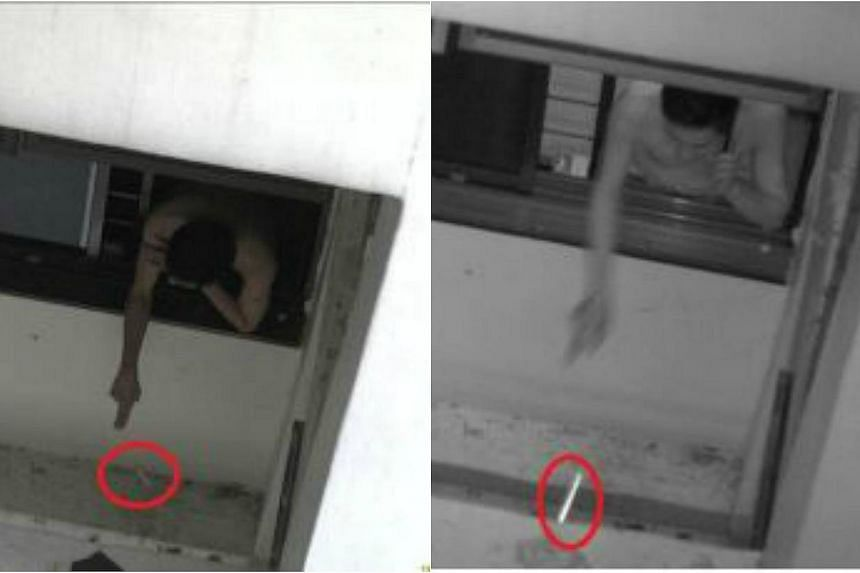 Images of the man throwing cigarettes out of his window. The 38-year-old committed 34 acts of high-rise littering by repeatedly throwing out cigarette butts from his home at Block 224C Compassvale Walk, the National Environment Agency (NEA) said in a