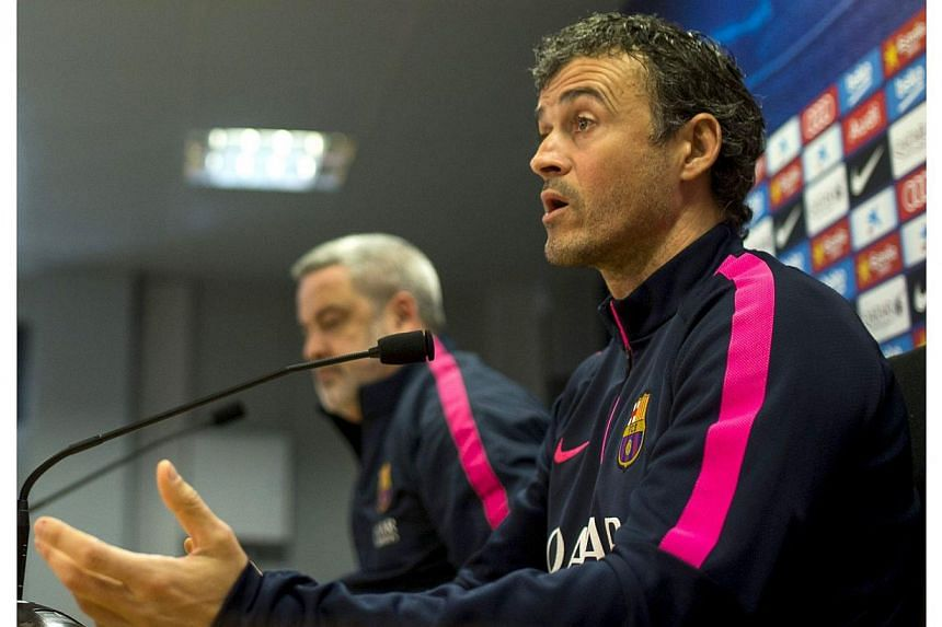 Barcelona's Spanish coach Luis Enrique (right), during a press conference held after the team's training sesion at Joan Gamper sports complex in Barcelona, northeastern Spain on Jan 23, 2015.Barcelona are not concerned about Luis Suarez's lack