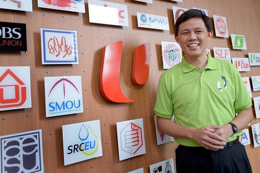 Cabinet minister Chan Chun Sing has joined the National Trades Union Congress (NTUC) immediately on a part-time basis, the labour movement announced this evening.-- ST PHOTO: LIM SIN THAI