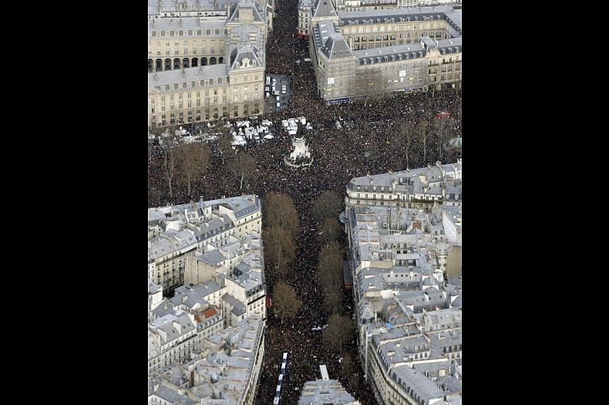 In the wake of the attacks in France, shows of support for freedom of speech have poured in from the world over, including a march for liberty on the streets of Paris (above).