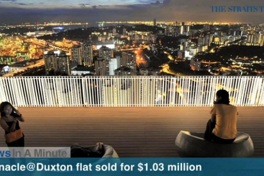 In today's News In A Minute, we look at a five-room unit above the 40th floor at Pinnacle@Duxton that has been sold for $1.03 million, the highest of any unit resold so far. -- SCREENGRAB FROM RAZORTV