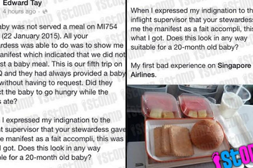 Edward Tay took to Facebook to complain that his baby was not served a meal on SilkAir flight MI754 on Jan 22, 2015. -- PHOTO: STOMP