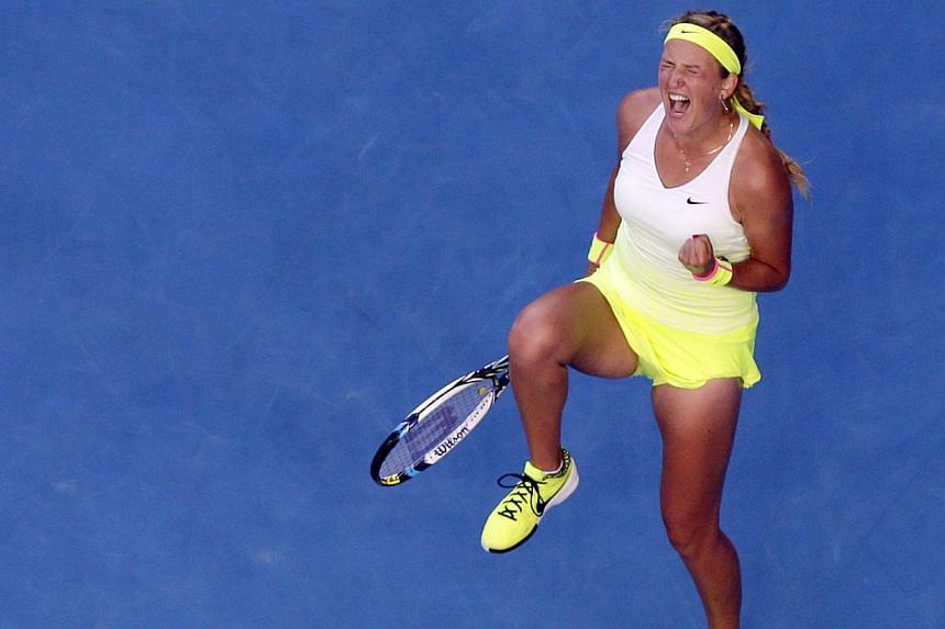 Victoria Azarenka of Belarus jubilates after winning against Barbora Zahlavova Strycova of the Czech Republic in their third round match at the Australian Open Grand Slam tennis tournament in Melbourne, Australia, Jan 26, 2015. -- PHOTO: EPA