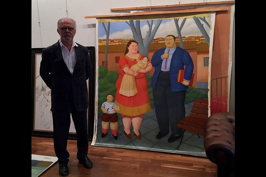Works by Fernando Botero (above, with his painting The Square) on display include oil on canvas painting Couple On The Grass and marble sculpture Sitting Woman. -- PHOTO: INTERNATIONAL ART