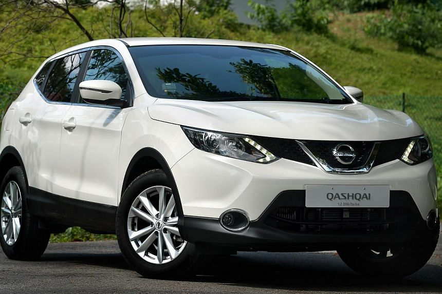 Boasting a small, powerful engine in a decent-sized body, the Nissan Qashqai 1.2 has everything a Singapore car buyer would want. -- ST PHOTO: KUA CHEE SIONG