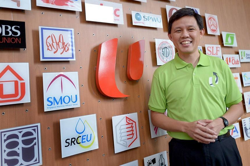 Mr Chan Chun Sing at NTUC Centre yesterday, where he met union leaders. In his new role as NTUC deputy secretary-general, he will strive to strengthen links between workers, businesses and the Government, armed with the courage of conviction that he
