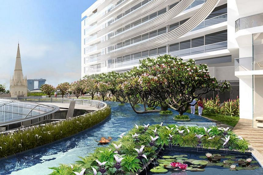 Artist's impressions of an amenity deck with an infinity swimming pool (above), which will have lush plants such as the Erythrina tree; and the sheltered dining space The Galleria (above left), below a glass roof at the upcoming Capitol Singapore. Mr