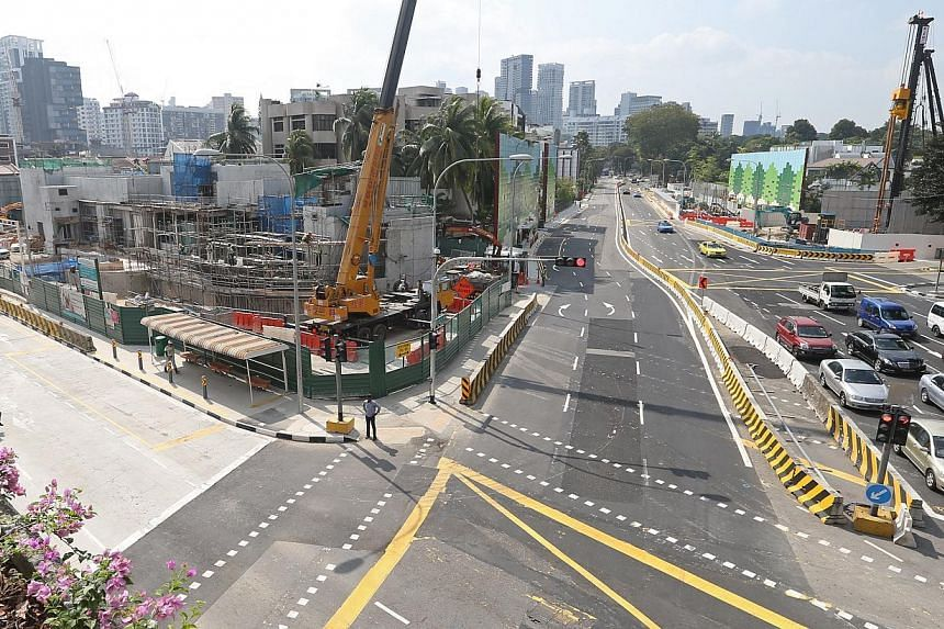 A view of the Stevens MRT station construction site from Wayang Satu Floyover. Stevens Road is on the right. -- ST PHOTO:SEAH KWANG PENG