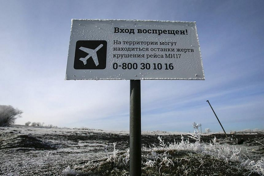 "A sign near the MH17 crash site in Ukraine in December reads ""No entrance! There may be remains of the victims of flight MH17 crash at the territory"". When snow and frost abate and the security situation permits, experts will again return to the site"