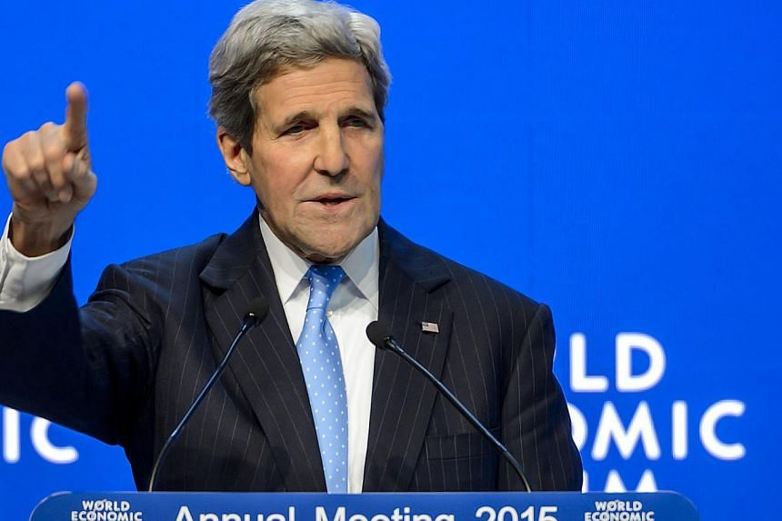 US Secretary of State John Kerry giving a speech on Jan 23, 2015 at the World Economic Forum annual meeting in Davos. -- PHOTO: AFP