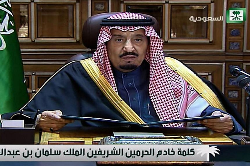 An image grab taken from Saudi state TV on Jan 23, 2015 shows Saudi Arabia's new King Salman in his first public address, in the Saudi capital Riyadh. -- PHOTO: AFP