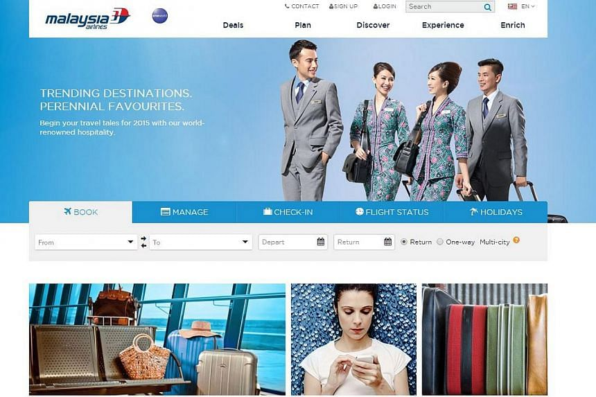 The restored Malaysia Airlines website at 7pm. -- PHOTO: SCREENGRAB FROM WWW.MALAYSIAAIRLINES.COM
