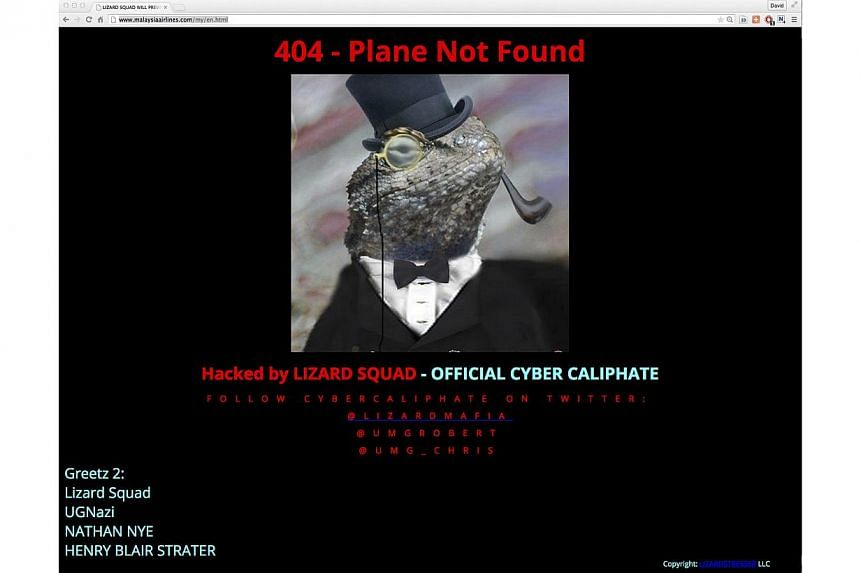 """The website's front page was replaced with an image of a tuxedo-wearing lizard, and read """"Hacked by LIZARD SQUAD – OFFICIAL CYBER CALIPHATE"""". It also carried the headline """"404 - Plane Not Found"""", an apparent reference to the airline's los"""