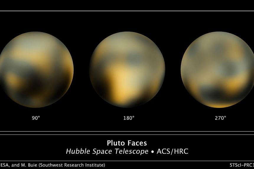 The most detailed view to date of the entire surface of the dwarf planet Pluto, as constructed from multiple Nasa Hubble Space Telescope photographs taken from 2002 to 2003. Hubble's view isn't sharp enough to see craters or mountains, if they exist