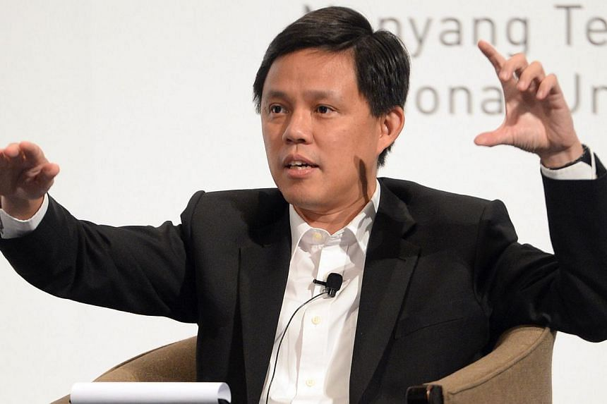 New labour chief Chan Chun Sing during a dialogue session at the annual Institute of Policy Studies Perspectives Conference at the Fairmont Ballroom, Raffles City Convention Centre on Jan 26, 2015.-- ST PHOTO:DESMOND FOO