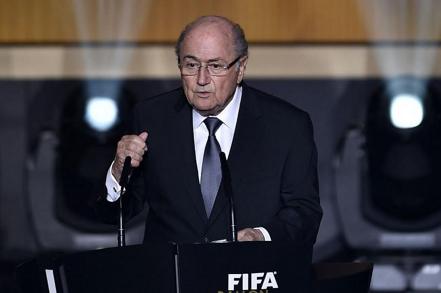 FIFA president Sepp Blatter delivers the opening speech during the 2014 FIFA Ballon d'Or award ceremony at the Kongresshaus in Zurich on Jan 12, 2015. African countries will vote overwhelmingly for Sepp Blatter in this year's Fifa elections, senior o