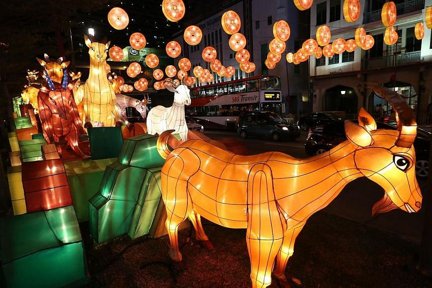 Media preview of the Chinatown Chinese New Year Celebrations 2015 held at the Kreta Ayer Square Stage on Jan 27, 2015. Chinatown will come alight this Saturday with 338 goat-shaped lanterns in anticipation of the Chinese New Year celebrations.&n