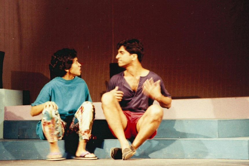 Off Centre's lead actor Abdul Latiff Abdullah (right), now an educator, with actress Sakinah Dollah in the original staging of the play in 1993.--PHOTO: THE NECESSARY STAGE