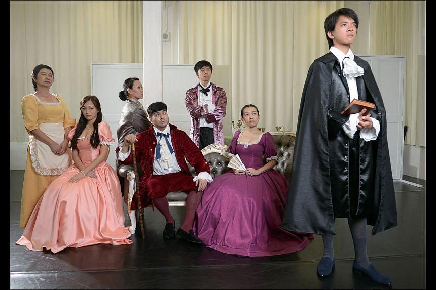The cast of Tartuffe at a dress rehearsal (from far left) Jalyn Han, Jean Toh, Koh Wan Ching, Darius Tan, Neo Hai Bin, Mia Chee and Hang Qian Chou. -- ST PHOTO: DESMOND WEE