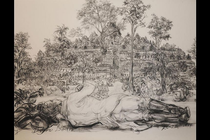 Artist Jimmy Ong reimagines history with his charcoal on paper works, such as Mapping Boro Bodor (above), which shows Sir Thomas Stamford Raffles reclining. -- PHOTO: FOST GALLERY