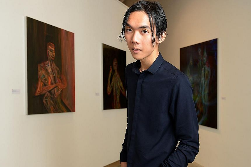 All 12 of Ruben Pang's works portraying creators in the midst of contemplation and obstacles have been snapped up. -- ST PHOTO: DESMOND WEE