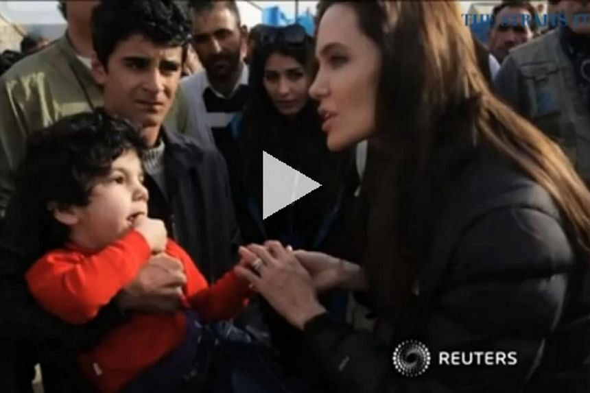 Speaking from the Kurdistan Region of Iraq, actress Angelina Jolie made an urgent appeal to the world to help refugees in Iraq and Syria. -- PHOTO: SCREENGRAB FROM VIDEO
