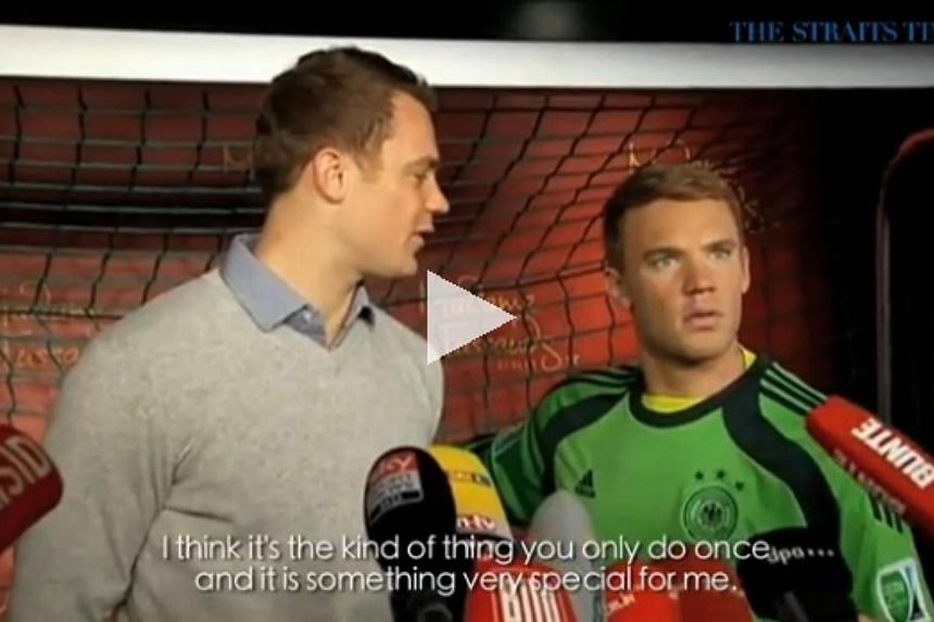 Germany had two Manuel Neuers in goal on Monday (Jan 26) - the real one and his wax likeness unveiled at Berlin's Madame Tussauds. -- PHOTO: SCREENGRAB FROM VIDEO