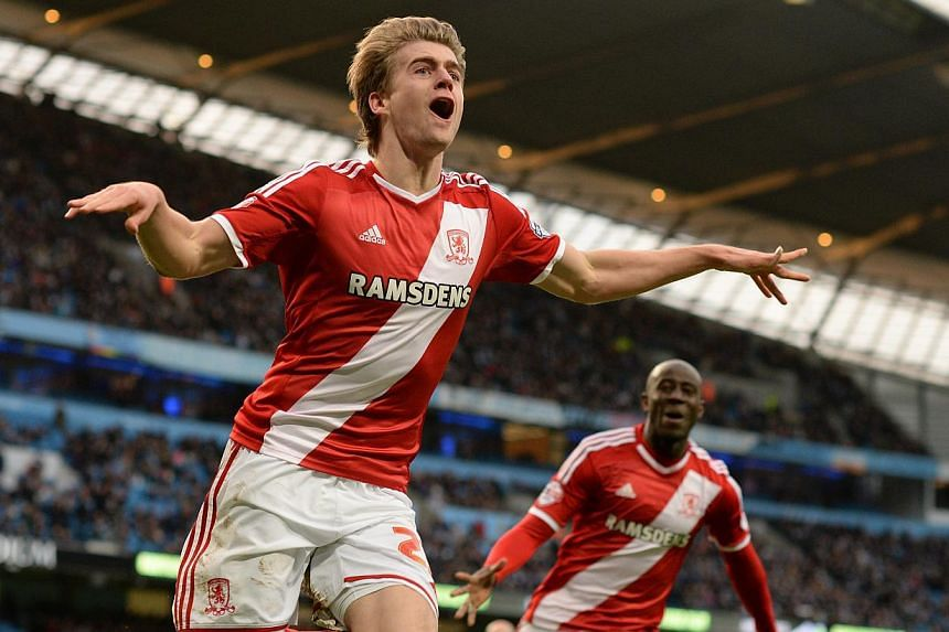 Middlesbrough's Patrick Bamford celebrating scoring during the English FA Cup fourth round match between Manchester City and Middlesbrough at the Etihad Stadium in Manchester on Jan 24, 2015. Middlesbrough will face Arsenal after beating City to clai