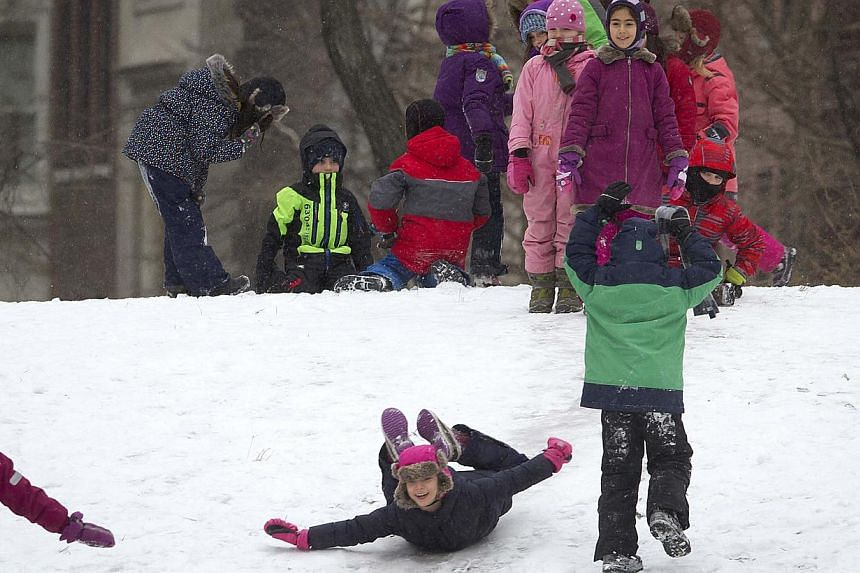 Children playing in Central Park as it snows in the Manhattan borough of New York on Jan 26, 2015. -- PHOTO: REUTERS