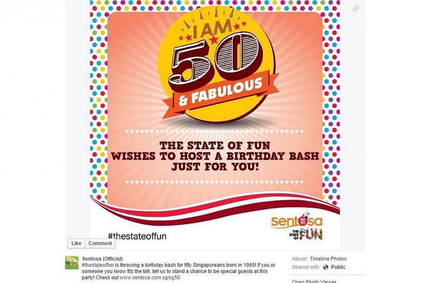 Sentosa Development Corporation said on Tuesday that it looking for 50 Singaporeans who turn 50 to invite to a party on March 13. -- PHOTO: SENTOSA/FACEBOOK