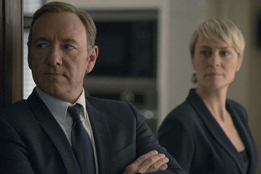 House Of Cards stars Kevin Spacey as the manipulative and scheming US President Frank Underwood and Robin Wright as his equally ambitious wife. -- PHOTO: MRC II DISTRIBUTION COMPANY