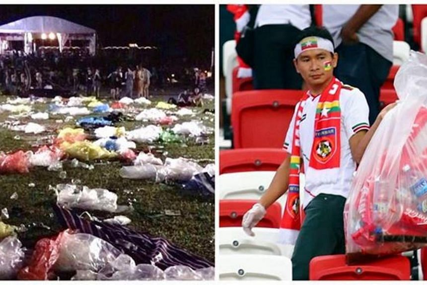 PM Lee posted two contrasting photos - one of the Meadow at Gardens by the Bay covered in litter after some 13,000 people attended the 2015 Laneway Music Festival over the weekend, and the other of Myanmar fans picking up litter at the National Stadi