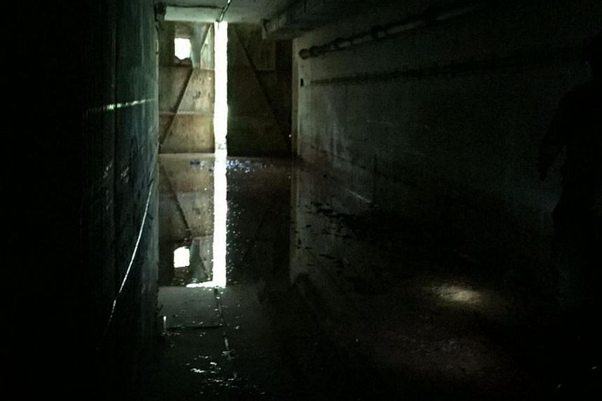 A view of doors from inside the bunker. --ST PHOTO: MELODY ZACCHEUS
