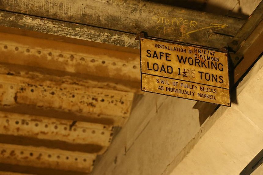 Signs on a crane in the bunker. -- ST PHOTO: SEAH KWANG PENG