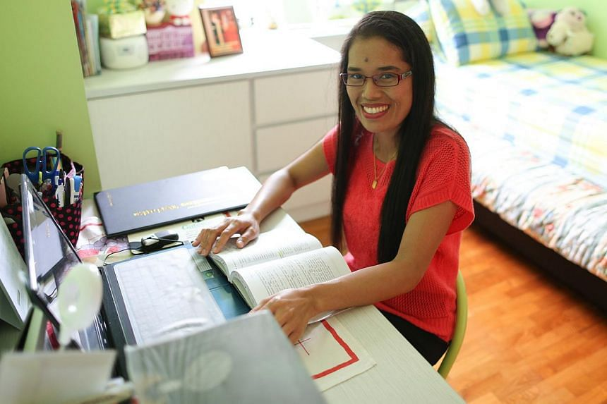 After her time here, Ms Mince plans to go back to her Indonesian village and teach English. -- ST PHOTO: ONG WEE JIN