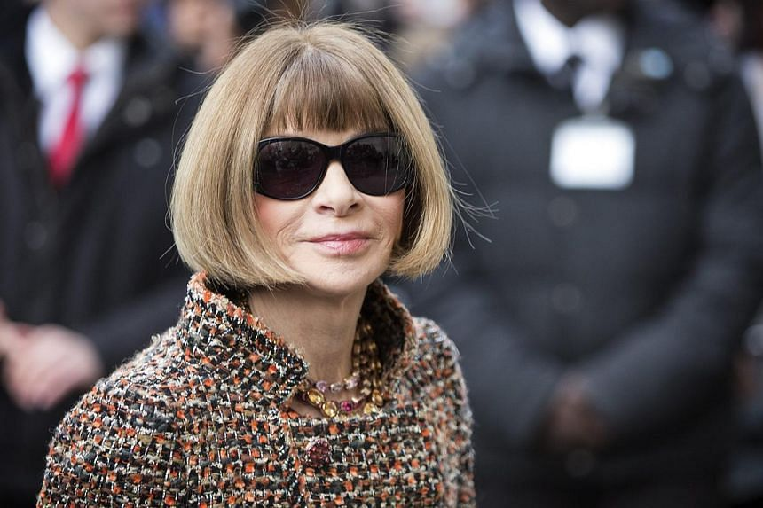 British editor-in-chief of US Vogue magazine, Anna Wintour arrives for the presentation of the Spring/Summer 2015 Haute Couture collection by German designer Karl Lagerfeld for Chanel during the Paris Fashion Week, in Paris, France, on Jan 27, 2015.